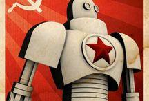 Constructivist Propaganda / USSR/Soviet/Communist stylised posters; Cold War, Space Race, Stalinism, WWII, Art Deco, etc.