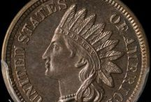 Indian Head Cents (1859 - 1869) / James Barton Longacre designed the Indian Head Cent in 1859. The coin had the representation of Liberty wearing an Indian headdress on the obverse, and a laurel wreath on the reverse along with the inscription ONE CENT.  / by Executive Coin