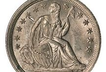 Bust and Seated Liberty Dimes (1796 - 1891) / The first dime introduced for circulation was the Draped Bust Dime with Small Eagle Reverse in 1796. The design of Early Bust Dimes coincides with the Bust Half Dimes. The 1796 Draped Bust features 13 obverse stars, while the 1797 dimes have 13 or 16 obverse stars.  / by Executive Coin