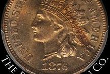 Indian Head Cents (1870-1879) / James Barton Longacre designed the Indian Head Cent in 1859. The coin had the representation of Liberty wearing an Indian headdress on the obverse, and a laurel wreath on the reverse along with the inscription ONE CENT. / by Executive Coin
