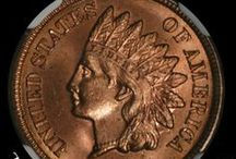 Indian Head Cents (1880-1889) / James Barton Longacre designed the Indian Head Cent in 1859. The coin had the representation of Liberty wearing an Indian headdress on the obverse, and a laurel wreath on the reverse along with the inscription ONE CENT. / by Executive Coin