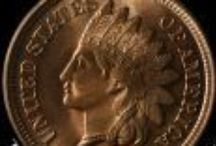 Indian Head Cents (1890-1899) / James Barton Longacre designed the Indian Head Cent in 1859. The coin had the representation of Liberty wearing an Indian headdress on the obverse, and a laurel wreath on the reverse along with the inscription ONE CENT. / by Executive Coin