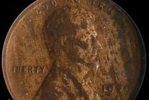 Lincoln Cents (1909-1919) / The Lincoln Cent was designed by Victor D. Brenner in order to commemorate the 100th anniversary of Abraham Lincoln's birth. The designer's initials (V.D.B.) appeared near the bottom of the coin on the reverse of a limited number of coins from 1909. That's why 1909 is considered a key date. / by Executive Coin