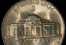 Jefferson Nickels (1942 Type 2-1945) / The Jefferson Nickel was designed by Felix Schlag, whose creative design displaying the portrait of Thomas Jefferson on the obverse and a corner view of Jefferson's home, Monticello, on the reverse won him an award of $1,000. The new nickels were first issued in 1938 and showed president Jefferson's bust facing left on the obverse and the front view of Monticello on the reverse.  / by Executive Coin