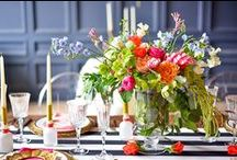 Reception / Beautiful, modern, lush, creative wedding table design and floral centerpieces