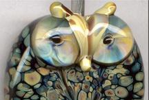 Glass Focal/Pendant Owls / Handmade  Glass Lampwork Artisan Owls
