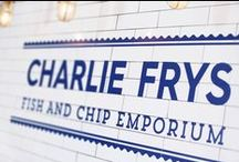 Charlie Frys — NWD / We were approached to create an identity for a new fish and chip shop venture. A great restaurant brand starts with a great name, once we'd come up with, 'Charlie Frys', the look and feel of the brand fell in to place as we created a traditional fish and chip shop interior with carefully considered graphics and POS that reinforce the fresh fish feel.