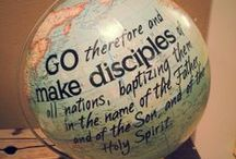 EVANGELISM / DISCIPLESHIP / THEREFORE GO AND MAKE DISCIPLES OF ALL NATIONS, BAPTIZING THEM IN THE NAME OF THE FATHER AND OF THE SON AND OF THE HOLY SPIRIT, AND TEACHING THEM TO OBEY EVERYTHING I HAVE COMMANDED YOU: AND SURELY I AM WITH YOU ALWAYS, TO THE VERY END OF THE AGE. MATTHEW 28:19-20 (NIV)