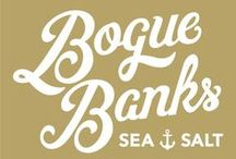 Bogue Banks Sea Salt Mood Board / Bogue Banks Sea Salt is a hand harvested sea salt, collected from the sea water from the Southern Outer Banks of North Carolina.   This mood board showcases my thought process for the design of this new product's logo design.
