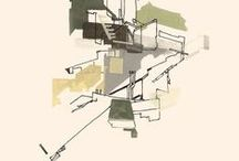 ARCHITECTURAL DRAWINGS / architectural drawings inspiration, coloured paintings, black and white, lines