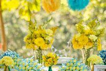 Decor Amarelo e Azul - Casamento ao ar livre