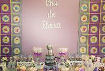 Chá de cozinha em tons lilás e cinza