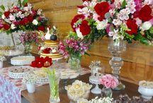 Decor vermelho e rosa para Casamento