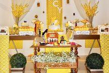 Decoração amarela para festas