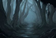 "Enchanted forests / I love walking thru a forest all alone. The sounds and the ""quietness"" is magical to me. I always imagine little ""fairys"" hiding behind every tree. To me every tree is a spirit! / by noreen scully"