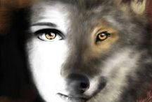 "WOLFSPIRIT ART / I think there is is a kind of spiritual bond between women and wolves. The ""wild"" factor that is in every woman. / by noreen scully"