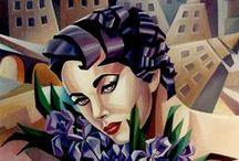 """Mes tableaux cubistes / Les iris de Liz"""" huile sur toile 55x46"""