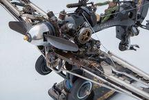 Hot rod model car & singer sewing machine creation / Modelli hot rod fatti con materiale di riciclo meccanico