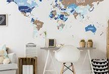 Home Decor | Travel theme / Travel Inspiration for Home Decor: World Maps, World Globes, Travel Trunks, Travel Stationery...