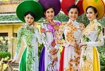 "Vietnam Vogue / ""The áo dài is a Vietnamese national costume, now most commonly worn by women. In its current form, it is a tight-fitting silk tunic worn over pants."" (quote from Wikipedia)"