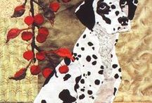 Dog Quilts / Quilts depicting dogs of all kinds, filtered for colours, styles  and humour that I love.