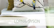Lorna Syson @ Pomegranate / Lorna Syson is a London-based textile designer whose focus is on portraying birds and wildlife she sees in the British countryside. See her collection of cushions, lampshades and plant pots here https://www.pomegranate-living.com/collections/lorna-syson