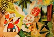 Follow the White Rabbit / As demonstrated in Alicewinks, there are so many beautifully different depictions of Alice's adventure through Wonderland.  This board features some amazing art not included in our project.