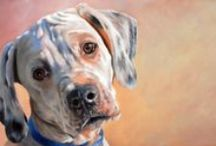 Chris Chantland's Muttshots / Mugshots are close ups of dogs - painted in oil, acrylic, graphite or watercolor.
