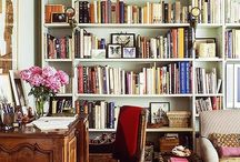 Home office and wall of books