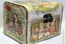 Decoupage / A very relaxing craft and you'll end up with a beautifully decorated box or bottle or canvas or....you name it!