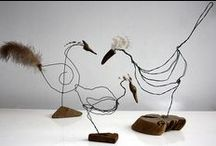 pretty metal & driftwood / wire and metal scuptures