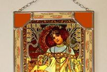 Alphonse Mucha, Bonded, Stained Glass, Vitrage / The closness of the copy is pointed of digital type writer. The type is protecked of door 1,3 mm hard glass which are embedded in to the thin lead sextion and tin soldering. We use special UV stabilized colours. This window-pane is convenienced in to the window or to hanging on the wall like Picture. The window-pane provide in the three-layer pasteboard covermade special for this product. This box serves for safety transfer and the same time used the window-pane as prestige present.