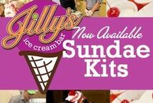 Jilly's Ice Cream Bar Sundae Kits / Order a Jilly's Design your own Sundae Kit for your next party, team building event or get together!   Each kits serves 18-20 people!   Call 314-993-5455 to order.  www.jillysicecreambar.com   / by Jilly's Cupcake Bar, Ice Cream Bar and Cafe