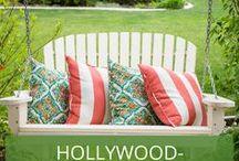 Hollywoodschaukel - Inspiration für den Garten / Hollywoodschaukeln sind gemütlich, beliebt und mit etwas Know How auch nicht allzu schwer zu pflegen. Wir zeigen Inspirations-Beispiele für Ihren Garten bzw. Ihre Terrasse.