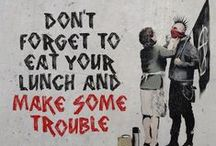 Banksy / Banksy is a pseudonymous England-based graffiti artist, political activist, film director, and painter.
