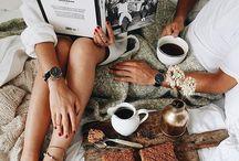 breakfast in bed / pugs, coffee and breakfast in bed