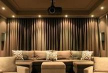 Media Theatre room / Curtains are the only window treatment to consider for a media / Theatre room - they block out the light, absorb sound and look dramatic! Here are some pics to get you thinking....