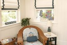 Banded curtains and blinds / Accent banding on window coverings can add drama & tie a room together