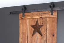 Flat Track Barn Door System / Our flat track barn door system is custom made to measure. All hardware is fabricated and tailored to your needs. Please inquire for pricing.