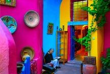 Colour your House for Joy / I love colourful houses. Why do so many new housing estates in suburban Australia look so drab. Take some lessons from Mexico, North Africa, Europe.