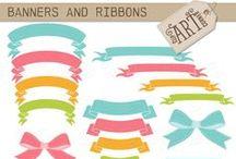 Ribbons & Bows Clip Art / Clip art of various styles, colors and sizes of ribbons and bows. #ribbons #bows #clipart