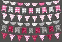 Banners, Bunting & Flags Clip Art / Banner and bunting clip art designs #banners #bunting #clipart #design #flag