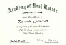 RoseMarie LaCoursiere Real Estate Education & Licenses / A grouping of Virginia and Florida real estate education and licensing certificates earned over the past 27 years