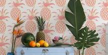 TROPICAL Decor / When summer approaches everyone is thinking of pina coladas and therefore, pineapples! Liven up your home decor with this popular pattern in vivid pinks and yellows or team it up with greens. Perfect for kitchens and bedrooms as a wallpaper or on lamp bases and cushions. It is part of the Botanical trend. Get the flamingos out while you are at it, and throw in some zig zag patterns too!