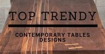 Trendy wood tables / Unique contemporary tables and Live edge solid wood top tables. The perfect accent for a unique interior desing