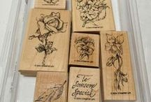 """SU Flower Garden / (circa 2004/2005-hostess/retired) Flower Garden by Stampin' Up! -  A lovely set of 7 Old English vintage style garden stamps: 1. leaf 2. Pansy 3. garden moth  4. """"To Someone Special"""" sentiment  5. Hydrangea  6. Rose 7. Vintage Violet."""