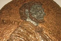 Coin Sculptures / We're willing to bet a pretty penny that you'll love these boards! Filled with sculptures and works of art created strictly from coins, these are masterpieces only #creditunions and their members could love. / by Lancaster Red Rose Credit Union