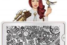 Nail art by plate - Steampunk 01