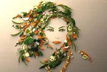 Vegetable Art / Vegetables assembled in fashionable shapes.