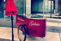 Bella Gelateria ice cream cart / At Bella, preserving the true artisanship of old-world handcrafted gelato, just like the way it was once made in Italy by the best of the best. They make everything from scratch using the finest ingredients locally or from around the world, regardless of the cost. They manually combine these ingredients daily in small batches and are the first in North America to use classical Italian equipment for the making and storing of our gelato, just like the best do in Italy.